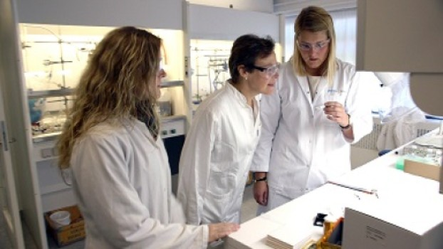 Professor Christine McKenzie (center in photo) and postdoc Jonas Sundberg, Department of Physics, Chemistry and Pharmacy at the University of Southern Denmark have synthesized a material that absorb oxygen in large quantities and store it.